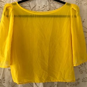 Puff Sleeve Blouse M yellow American Apparel New
